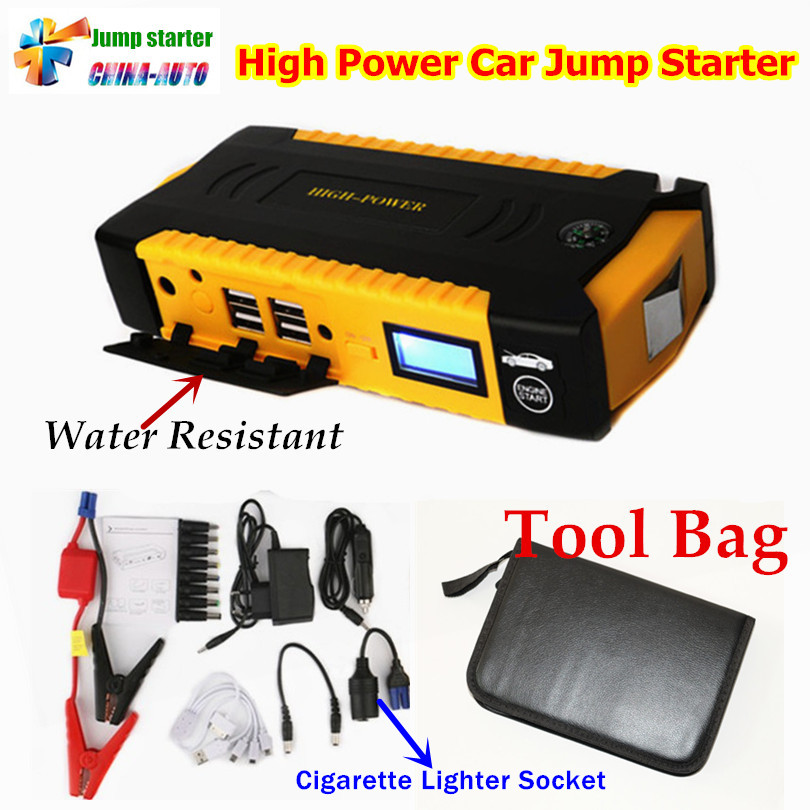 12V Multi-Function 16000mah Car Jump Starter 4USB Power Bank Compass SOS Lights 600A Peak Car Charger Better than 68800mah