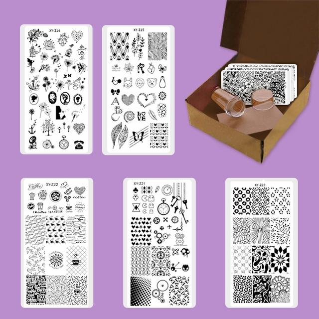 neue stamping set eis herz feder blume nagel platte vinyl schablonen nagel stempel niedliche. Black Bedroom Furniture Sets. Home Design Ideas