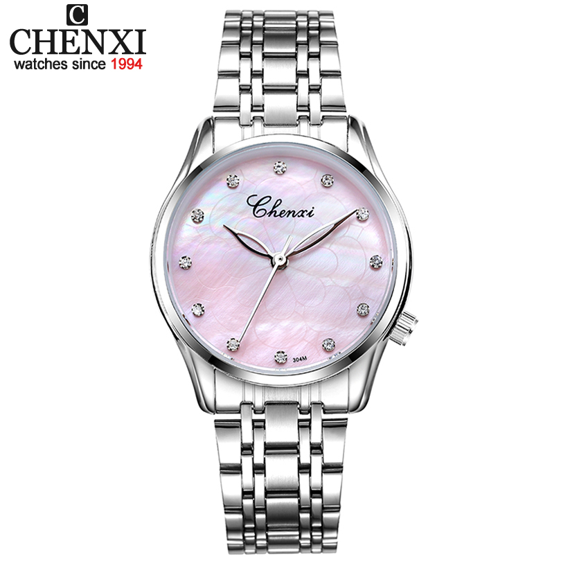 CHENXI Pink Dial Women Watch 30m Waterproof Stainless Steel Wristwatch Female Rhinestones Quartz Dress Ladies Watches Gift Clock