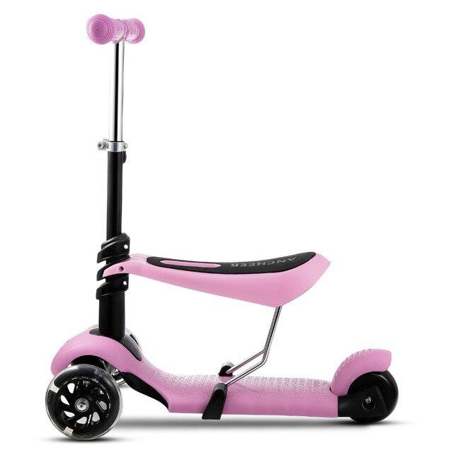 2018 Foot скутеры для детей мини-самокат детские 3 колеса регулируемая ручка Т-бар и сиденье горячей скутер