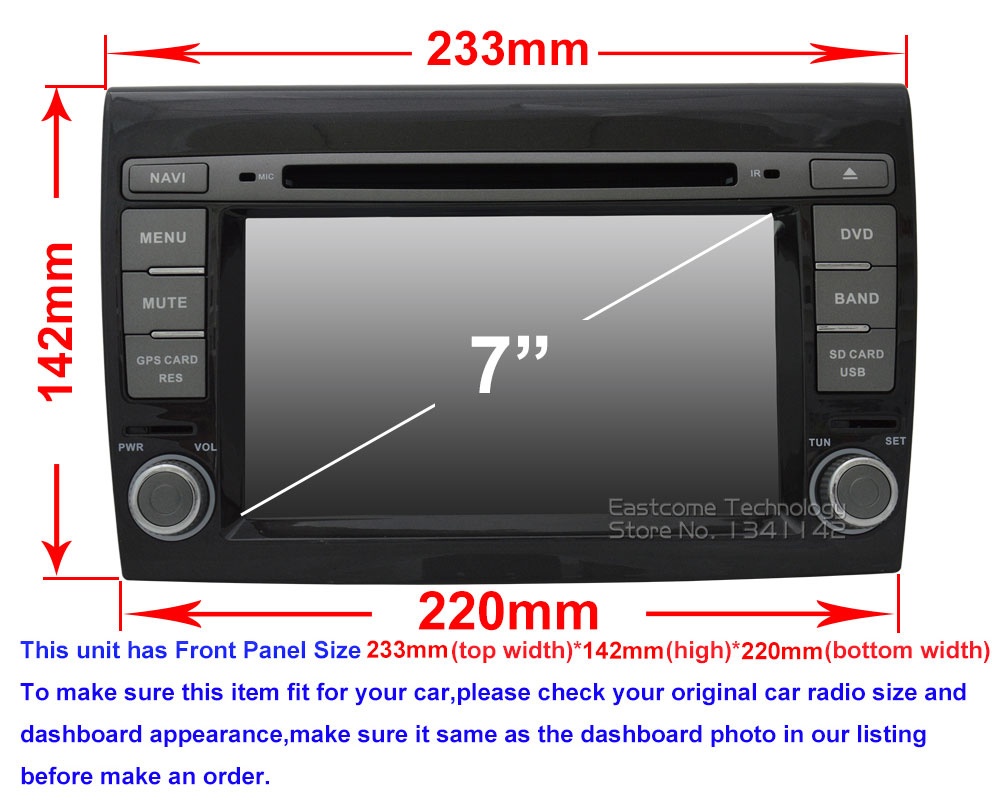 Sale 1024*600 8 Cores Octa Core Pure Android 6.01 Car DVD Player For Fiat Bravo 2007 2008 2009 2010 2011 2012 With Rear View Camera 0