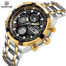 Элитный бренд аналоговые цифровые часы для мужчин Led полный сталь мужской часы для мужчин Военная Униформа наручные кварцевые спортивные…