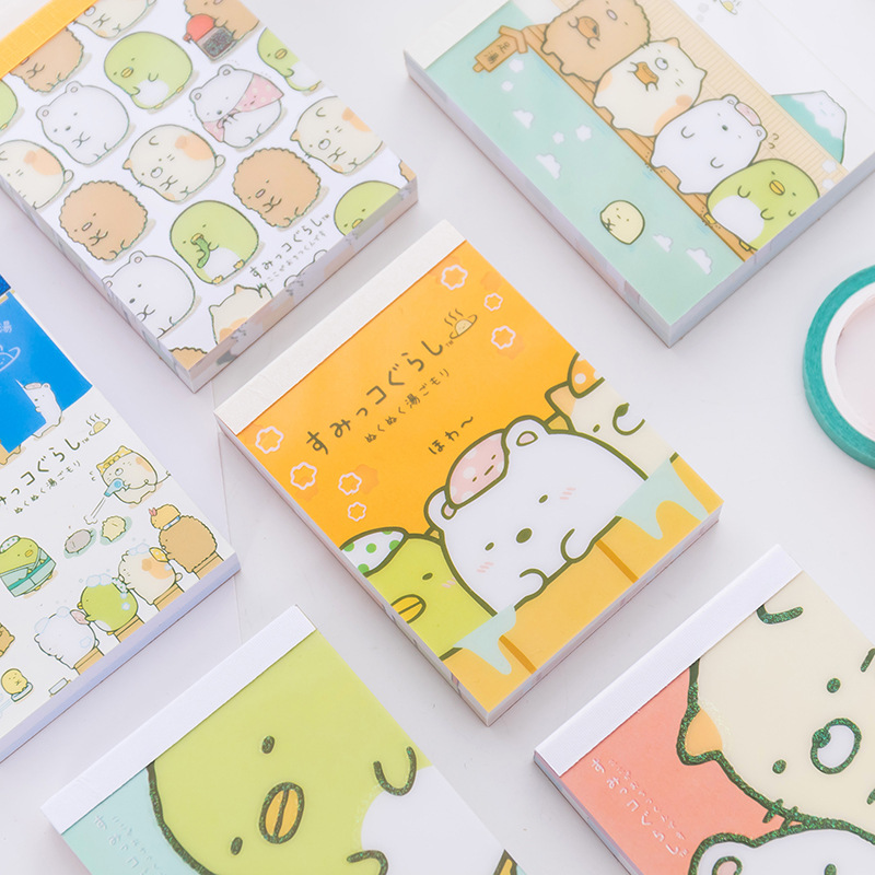 100 Sheets /Pack Sumikko Gurashi Portable Memo Pad Sticky Notes School Office Supply Student Stationery