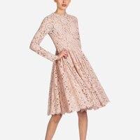 Runway Lace Long Sleeves Dresses 2018 Fashion Designer Vintage Pink Lace Dress Women