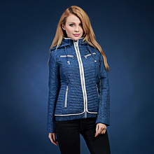 купить Women's autumn and winter short design denim detachable cap wadded jacket fresh color block cotton-padded jacket outerwear top 7 по цене 2126.53 рублей