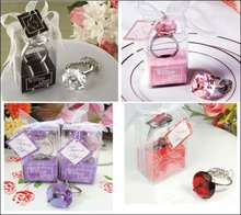 300PCS/LOT KATE ASPEN wedding party gift favor decoration of Crystal diamond Ring Keychains key chain 4 color free shipping