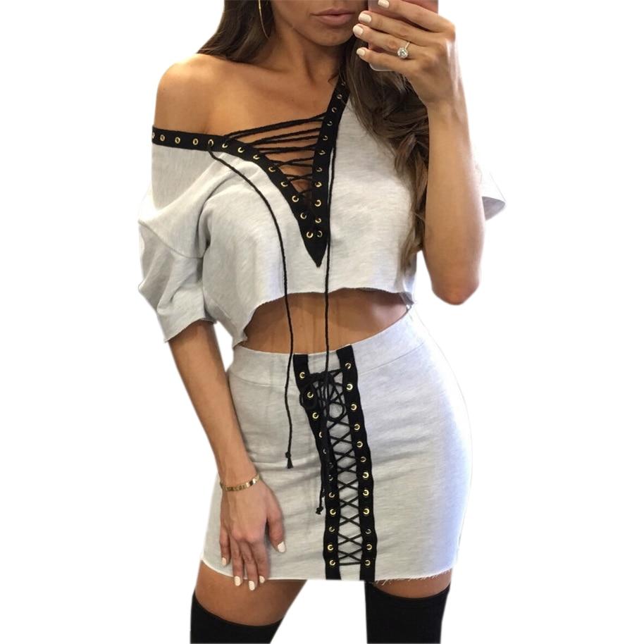 Sistemas de dos piezas atractivo del vendaje de bodycon dress set 2017 mujeres d