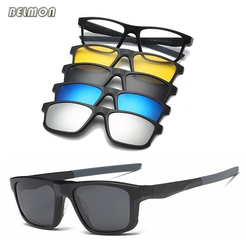 Belmon очковые оправы Для мужчин Для женщин с 4 шт. клип на поляризованных солнцезащитных очков Магнитная очки мужской близорукость компьютер ...