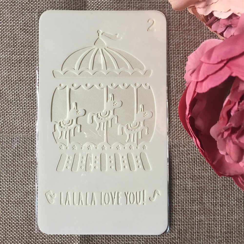 1Pcs 4x7inch Merry-go-round DIY Layering Stencils Painting Scrapbook Coloring Embossing Album Decorative Card Template
