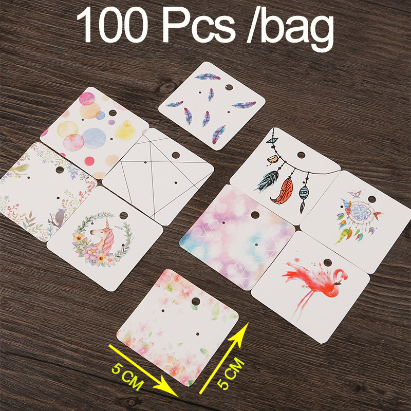 100pcs/bag 5x5 Multi Designs Paper Cute Stud Earring Hang Tag Card Custom Logo Cost Extra Jewelry Display Packing Card image
