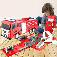Finger Rock Fire Engine Truck Deformation Alloy Track Car Toy Educational Railway Road Car Fire Station Toys Vehicles Kids Gift