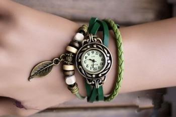 Fashion Vintage Leaf PU Leather Band Women Quartz Bracelet Watches 2