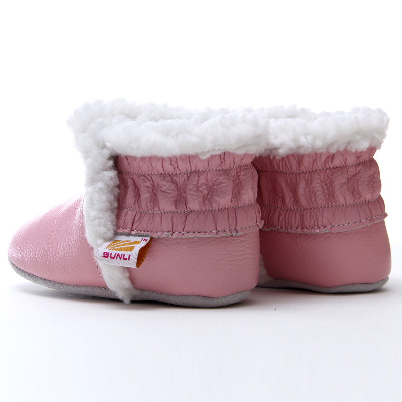 fc2a29f0b34 Leather Baby Boots for Girl Boy Pink Toddler Booties Winter Snow Boots Baby Girl  Boots Rabbit Hair Warm Baby Shoes First Walkers-in First Walkers from ...