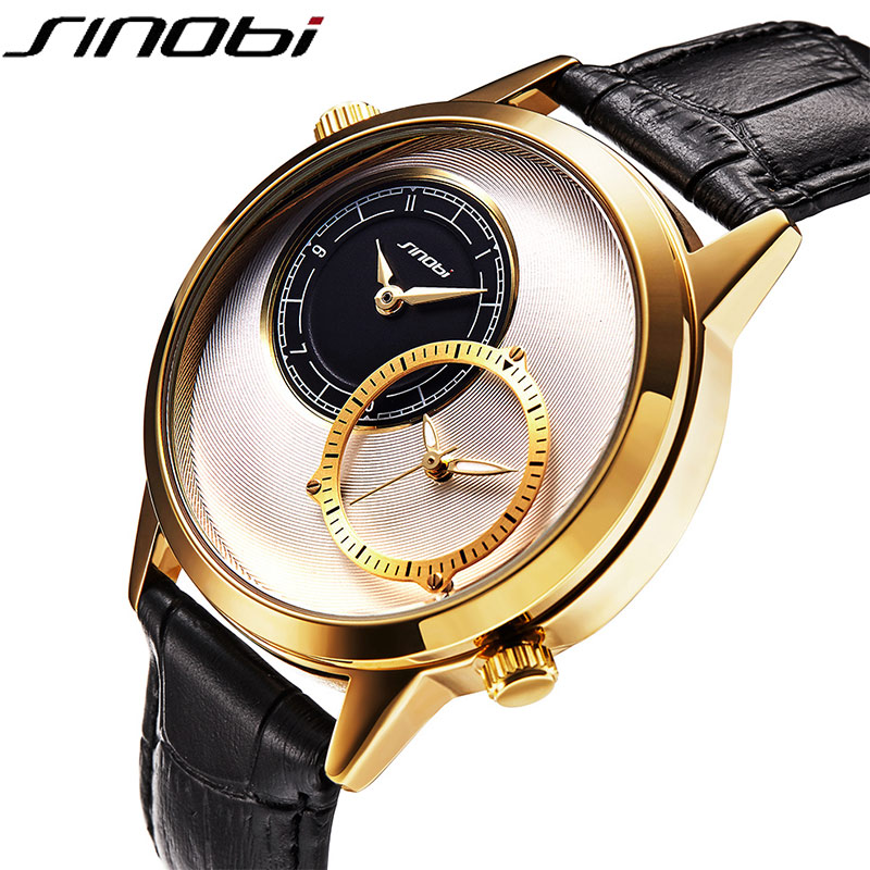 SINOBI New Fashion Men's Quartz Watch Dual Time Zone Leather Watchband Top Luxury Brand Clock Male Sports Wrist Watch 2018