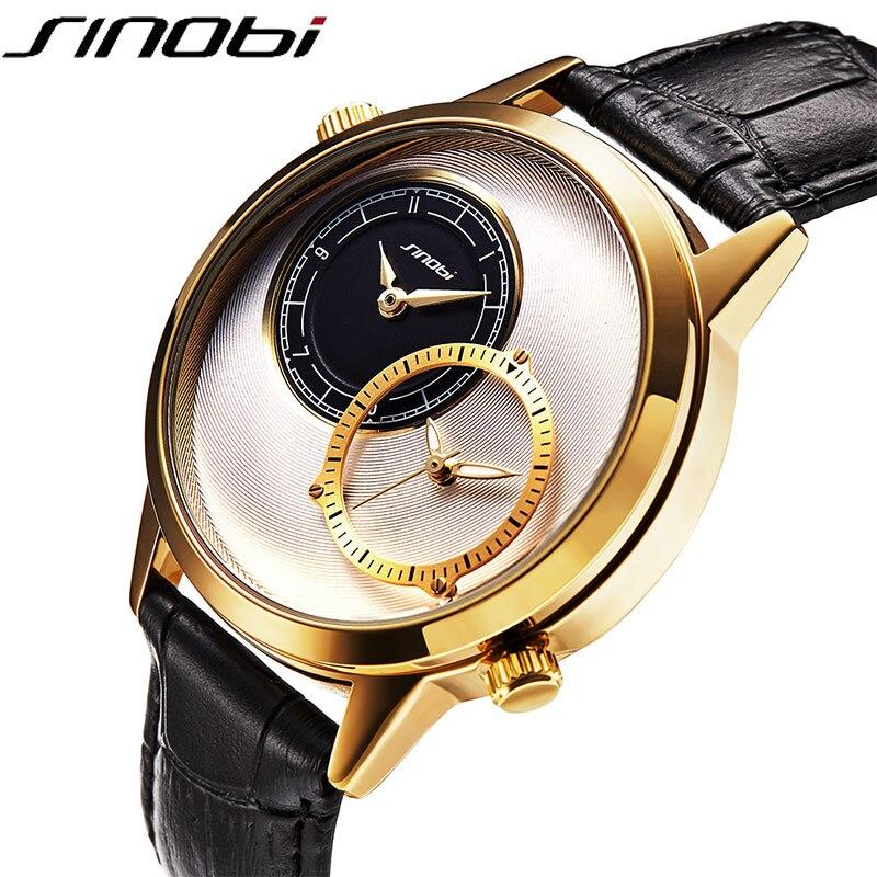 SINOBI New Fashion Men's Quartz Watch Dual Time Zone Leather Watchband Top Luxury Brand Clock Male Sports Wrist Watch 2018