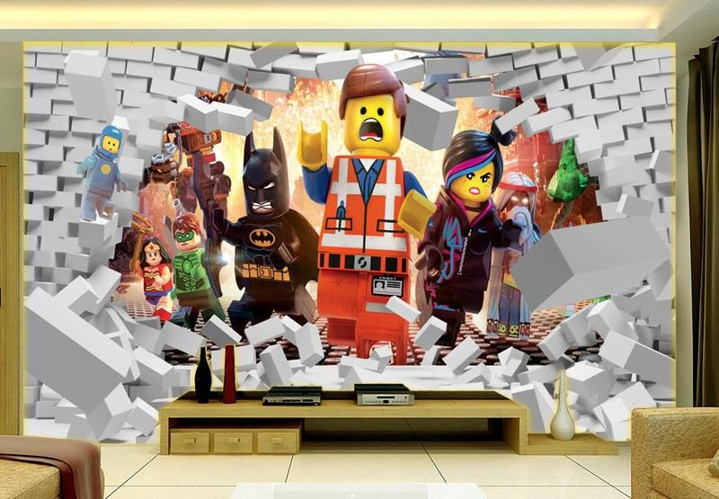 Us 16 73 38 Off 3d Lego Avengers Wallpaper For Walls Mural Cartoon Wallpaper Kids Bedroom Room Decor Tv Backdrop Wall Covering Photo Wallpaper In