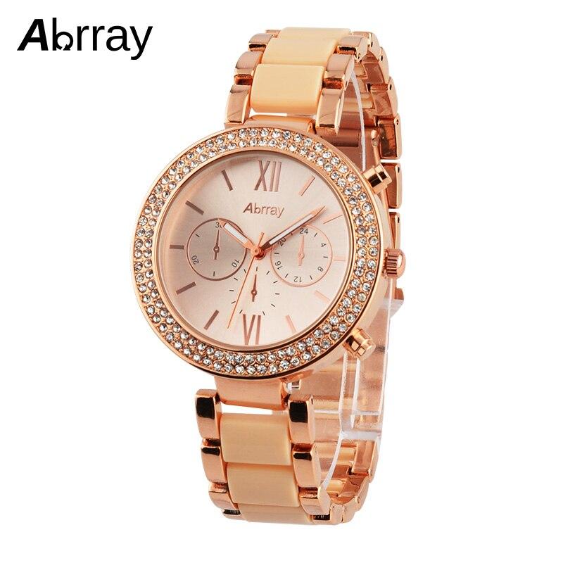Abrray Luxury Rhinestones Women Watches Fashion Alloy Rose Gold Quartz Business Wristwatches 3ATM Waterproof Watch For