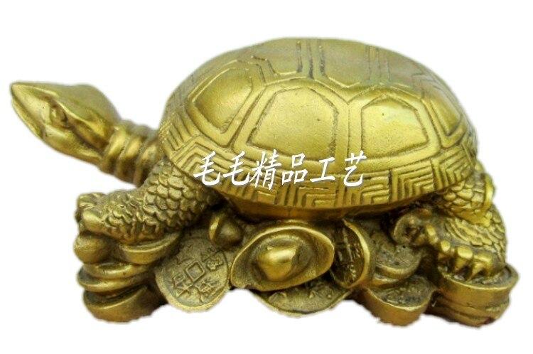 L'heureux bon augure du mal pur défend la sécurité de la tortue de bronze cuivre longévité tortue avec ornements en or suisse