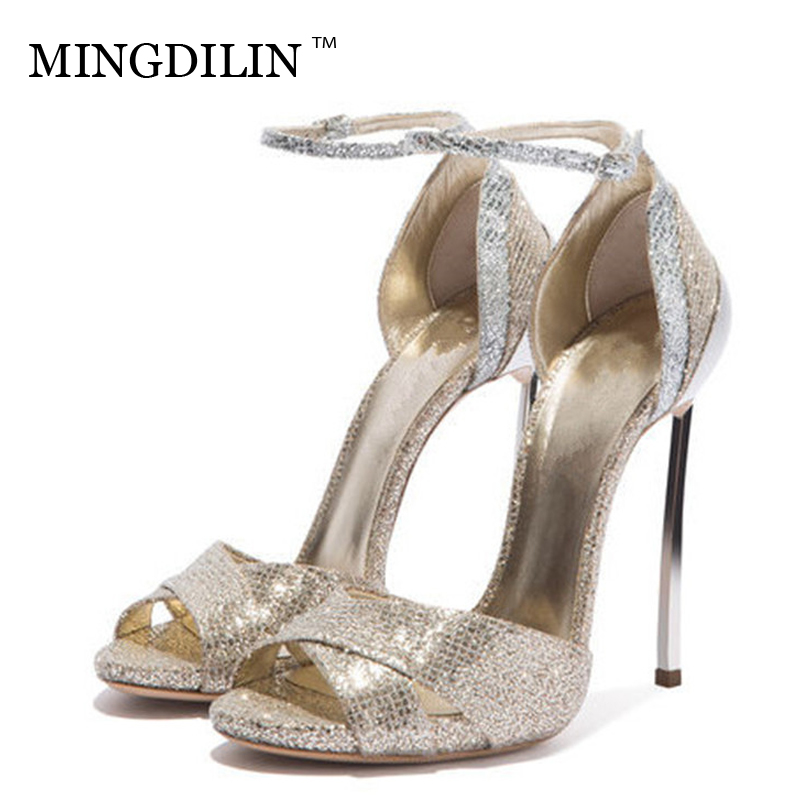 MINGDILIN Summer Women's Heels Sandals Sexy Peep Toe High Heels Woman Shoes Plus Size 33 43 Women's Heels Sandals Zapatos Mujer цена