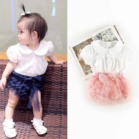 New Summer Casual Kids Infants Girls Baby Sweet Doll Short Sleeve T Shirt Tops Bow Mesh