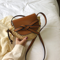 Small PU Leather Patchwork Straw Bags For Women 2019 Brand Design Lady Saddle Handbags Crossbody Bags Holiday Shoulder Purses
