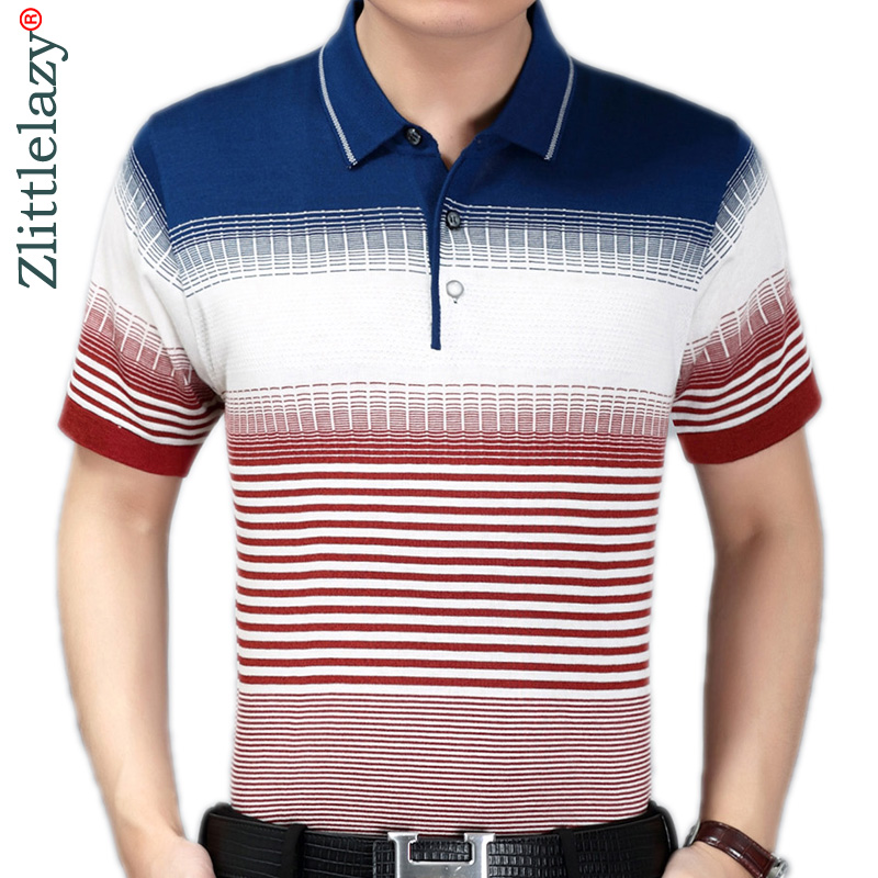 2019 summer short sleeve knitting   polo   shirt men clothes striped fashions   polos   tee shirts pol cool mens clothing poloshirt 760