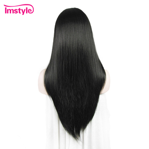 Image 3 - Perruque avant en dentelle Imstyle perruques noires longues droites pour femmes perruque en dentelle synthétique Fiber résistante à la chaleur cheveux naturels dame Cosplay