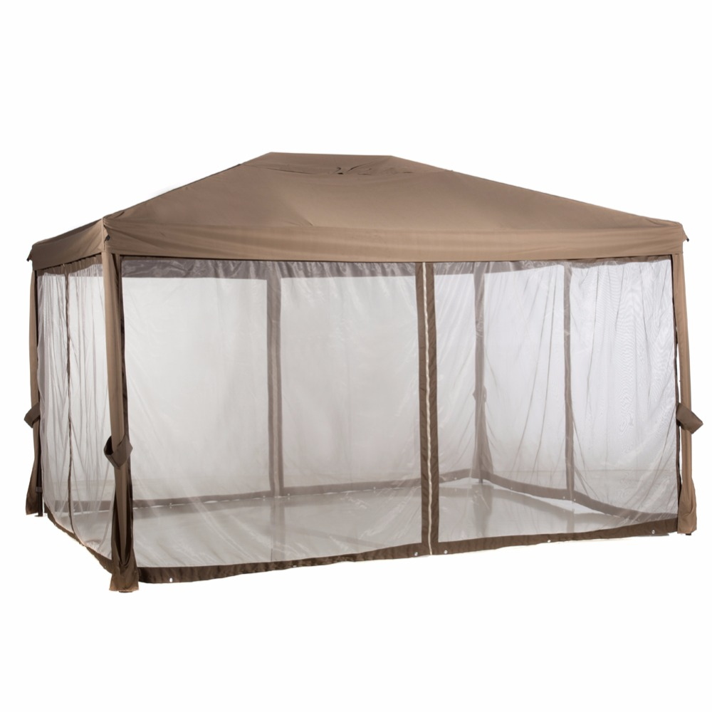Abba Patio 10x12 Feet Fully Enclosed Garden Gazebo Patio Canopy With  Mosquito Netting Brown In Gazebos From Home U0026 Garden On Aliexpress.com |  Alibaba Group