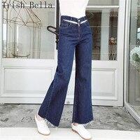 Hohe taille jeans frau 2018 mode einfarbig Einfach doppelband breite bein keucht Dünne Quasten vadim frauen jeans femme mom jeans
