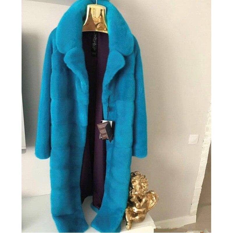 Longue Cm D'hiver Fourrure Rabattu Beige rouge Fursarcar Taille Luxe Plus De Diagonale Femmes Veste Mode Réel Nouveau Vison La Col bleu 120 Rayures 65pwpxEz