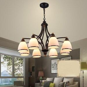 Image 4 - 3 lumières Bronze frotté à lhuile, Style européen Vintage, 6 lumières, 8 lumières, luminaire dintérieur, verre, luminaire dintérieur