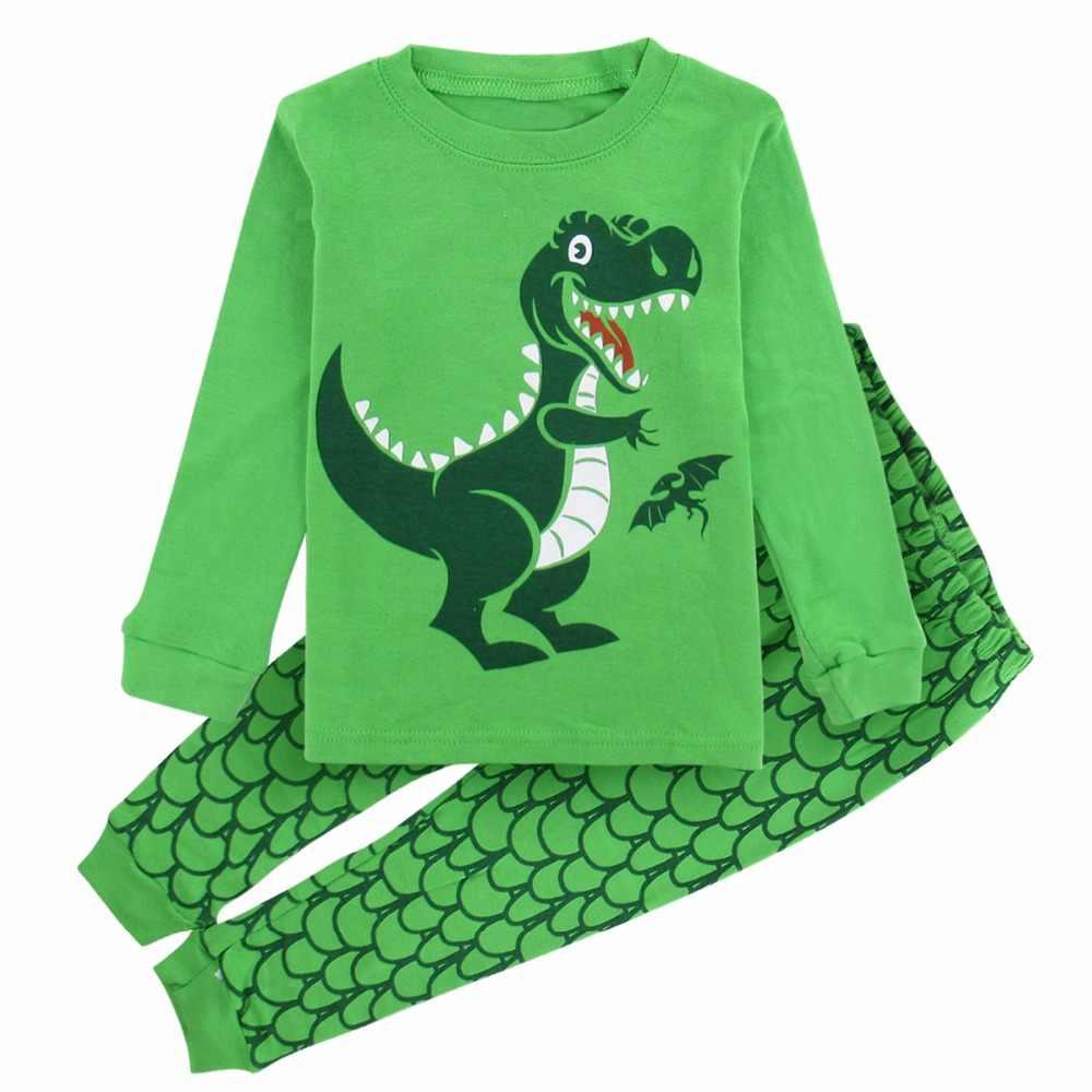 Детская Пижама для мальчиков Детские пижамы Пижама с динозавром ребенок  мультфильм пижамы ночное Новый год на a79934fa51740