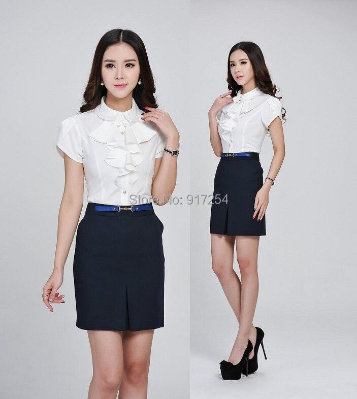 Formal white blouses women skirt suits tops and skirt 2015 for Modelos de oficinas