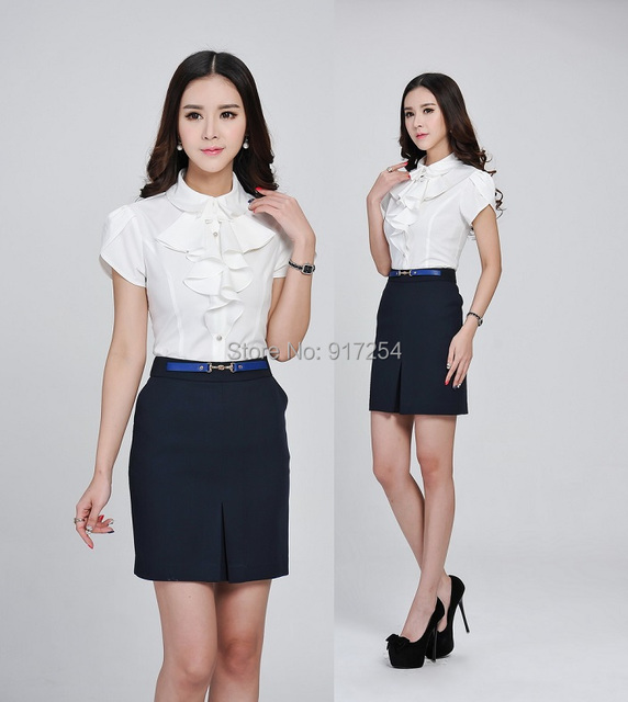Aliexpress.com : Buy Formal White Blouses Women Skirt Suits Tops ...