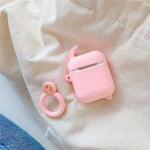 Image 2 - Funda de auriculares con Bluetooth para Airpods 2, accesorios, funda protectora, bolsa, correa de anillo antipérdida, dibujo animado de silicona 3D Sailor Moon
