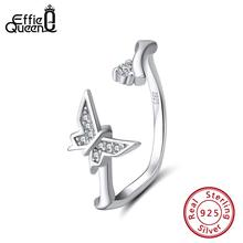 Effie Queen 925 Sterling Silver Women Rings Butterfly Shape Adjustable Finger Ring Wedding Band Jewelry Anillos BR137