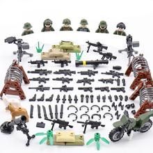 hot military WW2 US Army Airborne Assault war MOC Building Block model mini Heavy weapon gun figure brick toys for children gift