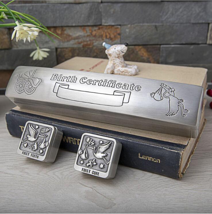 Boîte de rangement en métal européenne 3 pièces/ensemble pour bébé naissance papier première dent lait curl petite boîte en fer blanc boîte à jouets RY007