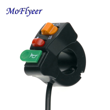 MoFlyeer Motorcycle 7/8 Handlebar Horn Turn Signal Head Light Beam Kill Switch