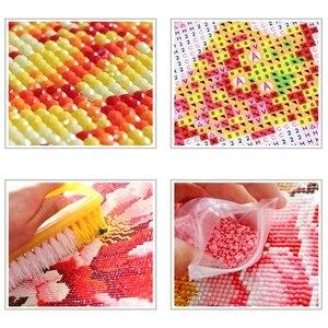 Image 4 - Hot Diy Diamant Malerei Kreuz Stich Rosa Rose Mit Wasser Tropfen Muster Stickerei