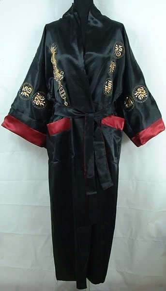 placeholder Burgundy Black Chinese Men s Satin Robe Gown Novelty Reversible  Nightwear Embroidery Two-Sided Casual Bathrobe d9dfe80be