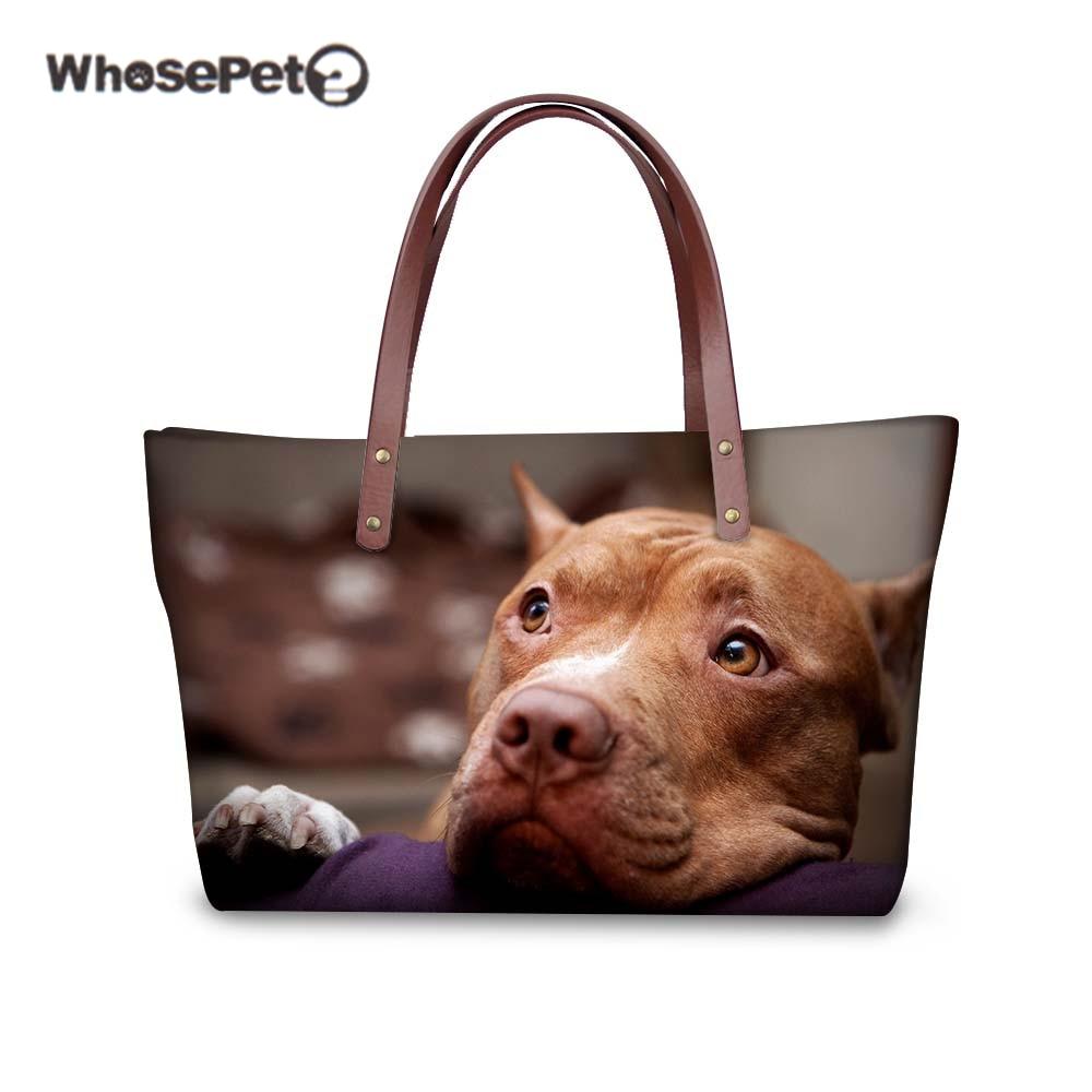 WHOSEPET Women Shoulder Bag Pit Bull Terrier Bulldog Pug Printing Fashion Handbags Casual Large Tote Beach