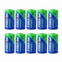 PKCELL 10 pièces haute Performance CR123A 3.0 V 1500 MAH batterie Rechargeable batterie au Lithium Durable pour lampe de poche LED