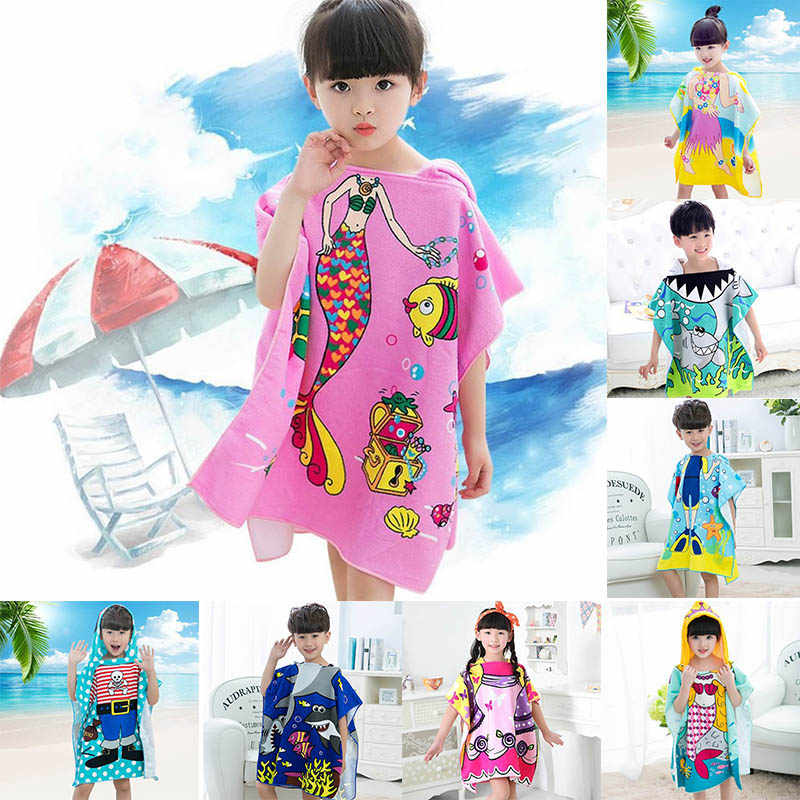 Beach Towel  Swimming Accessories Cartoon Pattern Microfiber Baby Hooded Poncho Beach Clothes Multifunction 60x120cm