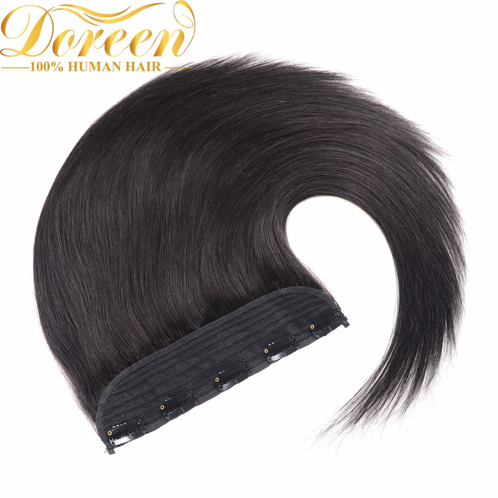 Doreen Black One Piece Set Clip In Human Hair Extensions Wide 10inch