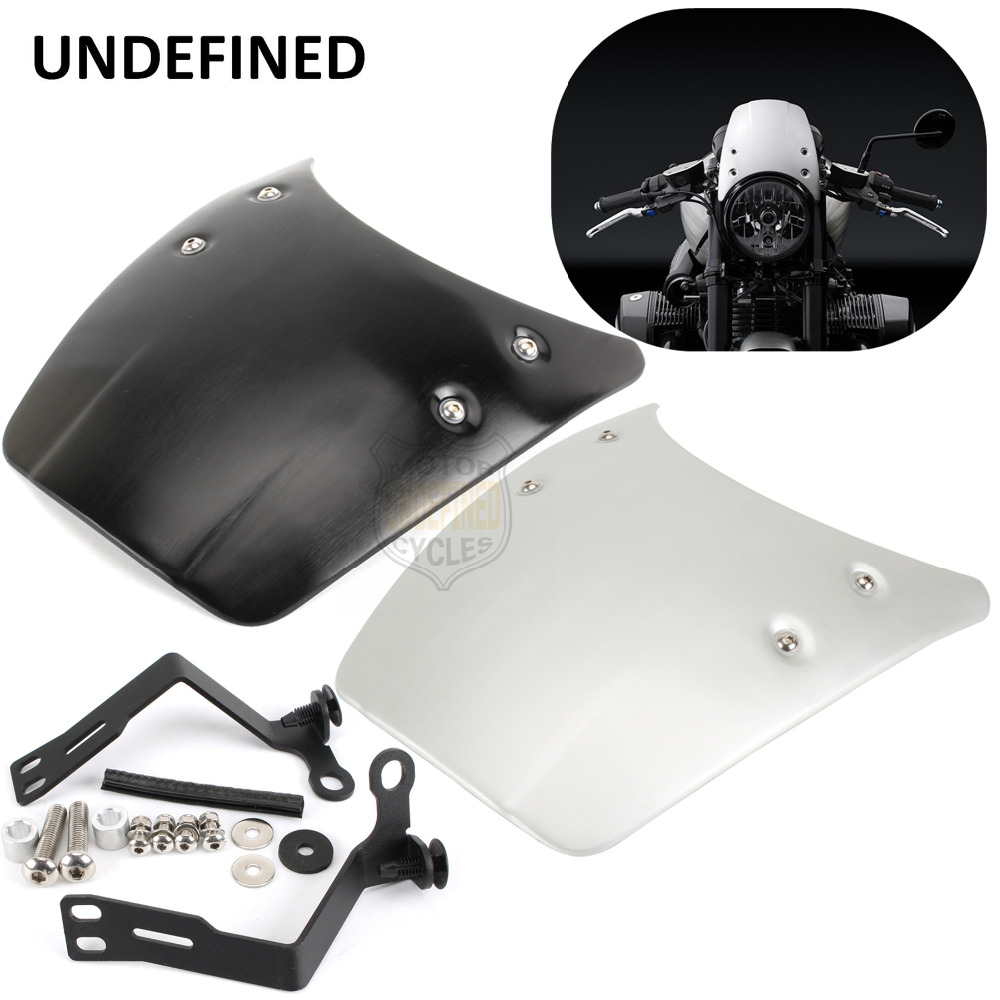 For BMW R nine T R9T 2014-2017 Motorcycle Parts Black Silver Aluminium Front Fly Screen Headlight Fairing Covers UNDEFINED