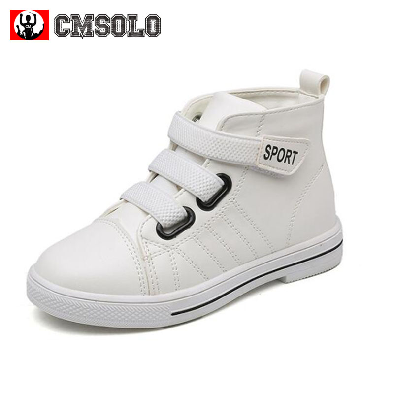 CMSOLO Children Fashion Sneakers PU Leather Boys Girls White Red Pink Casual Shoes Kids Footwear School Walking Outdoor Leisure