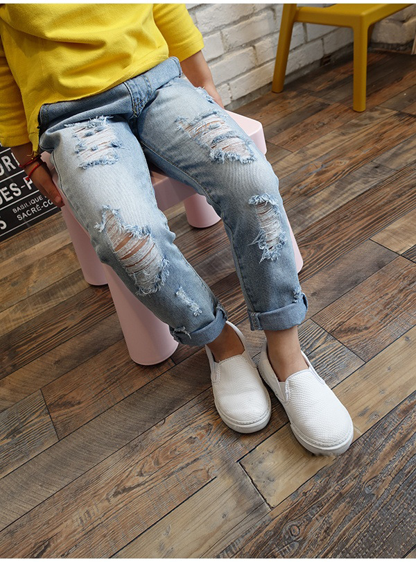 2b7a95b5d8c Boys & Girls Ripped Jeans Spring Summer Fall Style 17 Trend Denim Trousers  For Kids Children