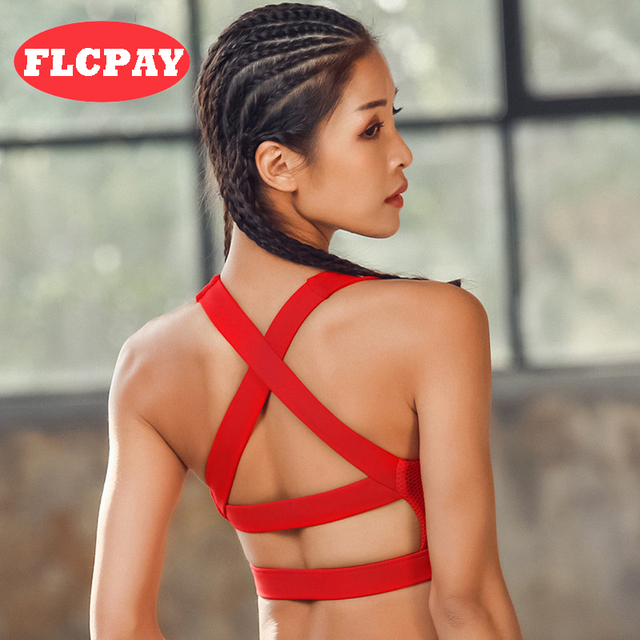 2661654c25 2018 Women Sexy Sports Bra High Impact for Fitness Yoga Running Pad Cropped  Top SportsWear Tank Tops Sports Push Up Bra Women