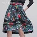 Ving 2017 falda de las mujeres vintage impresión del remiendo falda ocasional de las mujeres a corto plisado